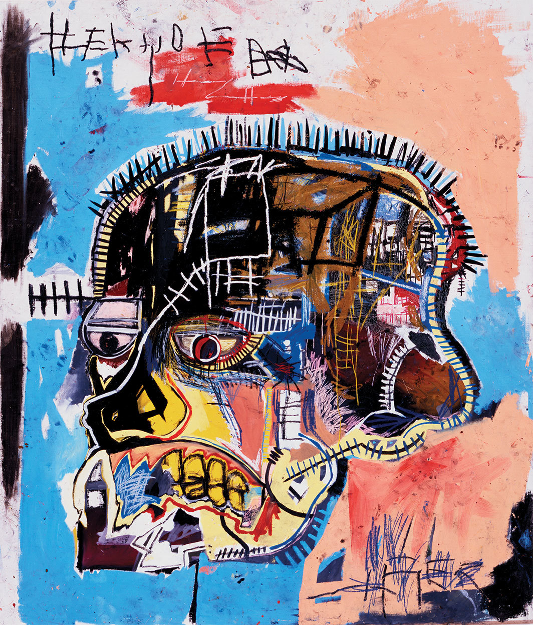 "Jean-Michel Basquiat, Untitled, 1981, acrylic and oil stick on canvas, 81 × 69 1⁄4""."