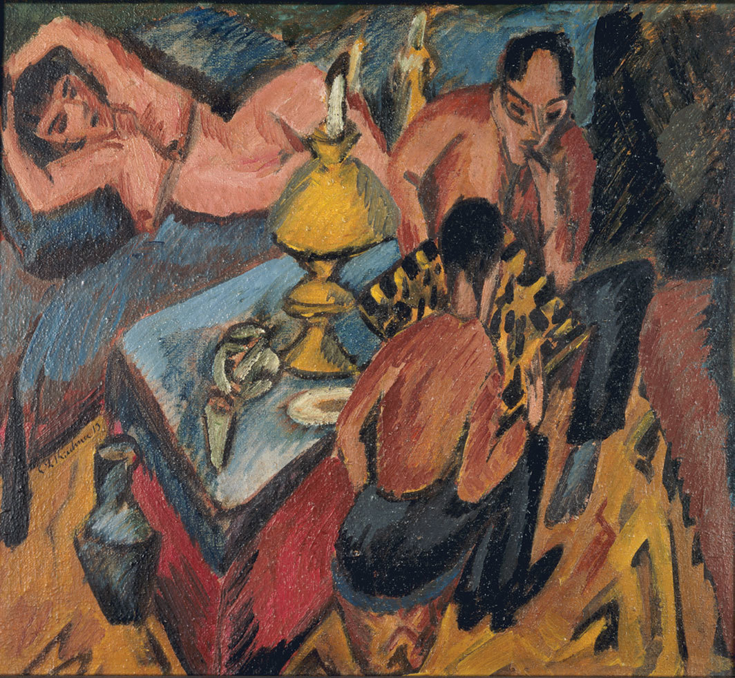 "Ernst Ludwig Kirchner, Erich Heckel und Otto Mueller beim Schach (Erich Heckel and Otto Mueller Playing Chess), 1913, oil on canvas, 14 × 15 7⁄8"". From ""1913: The Brüke and Berlin."""