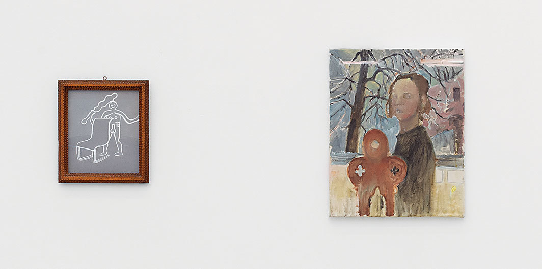 "View of ""Mathis Altmann, Bonnie Camplin, Salvo,  Lucie Stahl, Amelie von Wulffen,"" 2018. From left: Bonnie Camplin, Cerne Abbas Giant!, 2018; Amelie von Wulffen, Untitled, 2014. Photo:  Marcel Koehler."