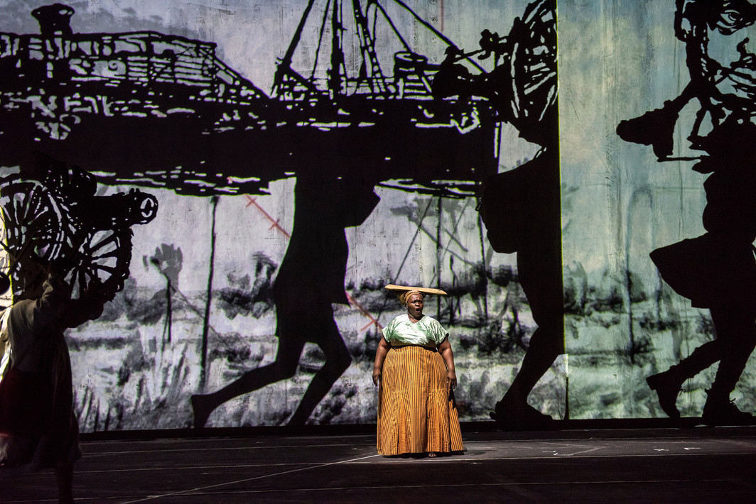 Wiliam Kentridge, The Head & The Load. Performance view, Park Avenue Armory, 2018. Ann Masina. Photo: Stephanie Berger.