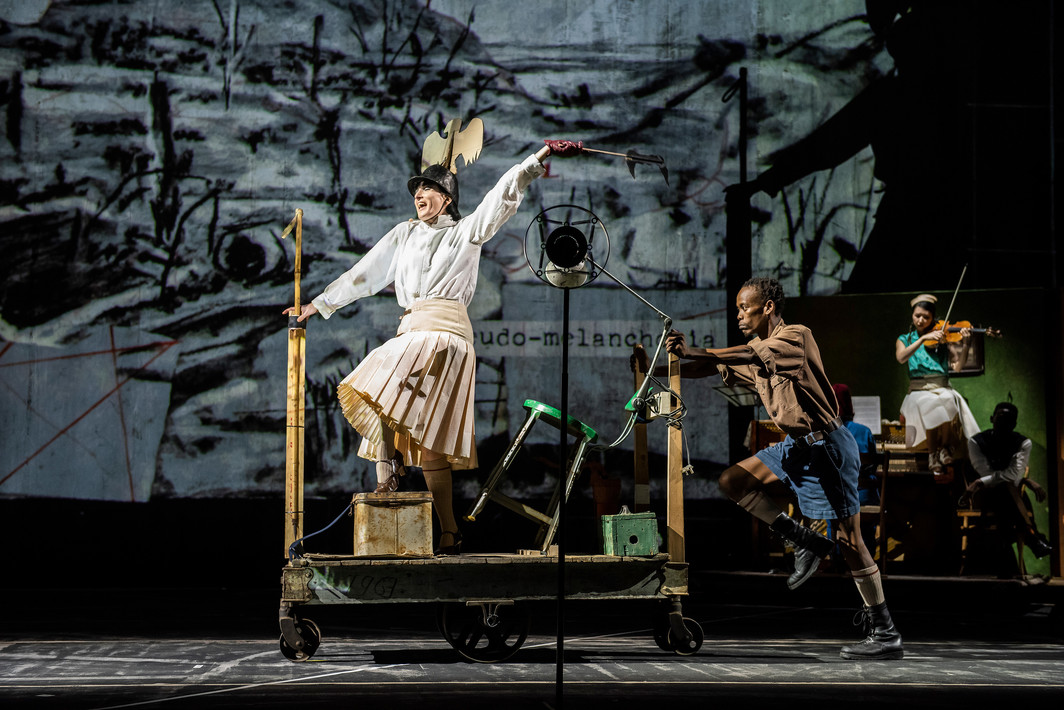 Wiliam Kentridge, The Head & The Load. Performance view, Park Avenue Armory, 2018. From left: Joanna Dudley, Xolani Dlamini, and Mario Gotoh. Photo: Stephanie Berger.