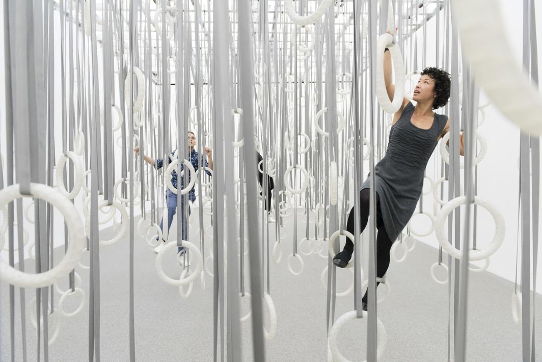 William Forsythe, The Fact of Matter, 2009, polycarbonate rings, polyester belts, steel rigging.