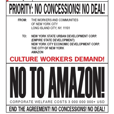 """Say No to Amazon"" graphic designed by Bad Barcode."