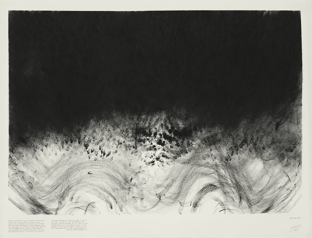 "Robert Morris, Blind Time III, 1985, graphite on paper, 38 × 50""."