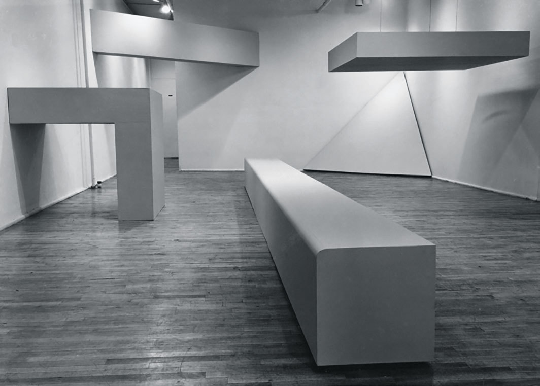 "View of ""Robert Morris,"" 1964–65, Green Gallery, New York. Photo: Rudolf Burckhardt."