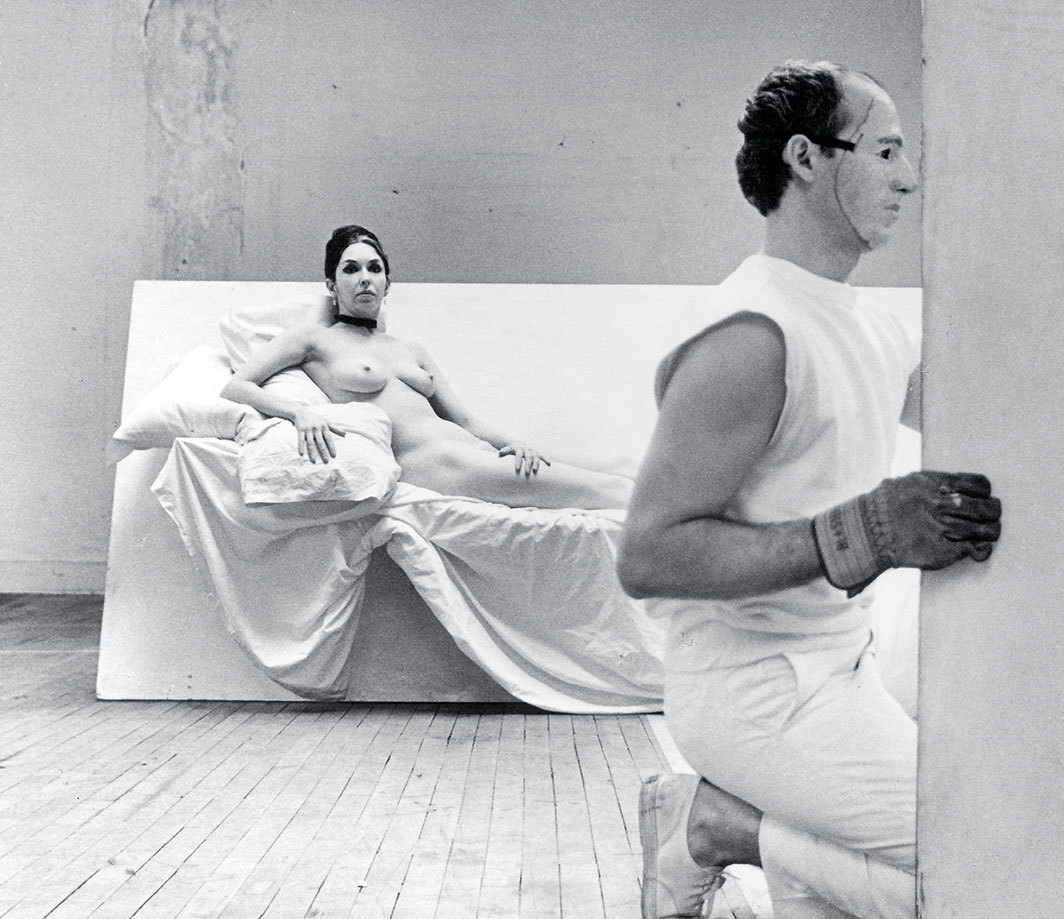 Robert Morris, Site, 1964. Performance view, Stage 73, Surplus Dance Theater, New York, February 1964. Carolee Schneemann and Robert Morris. Photo: Hans Namuth.