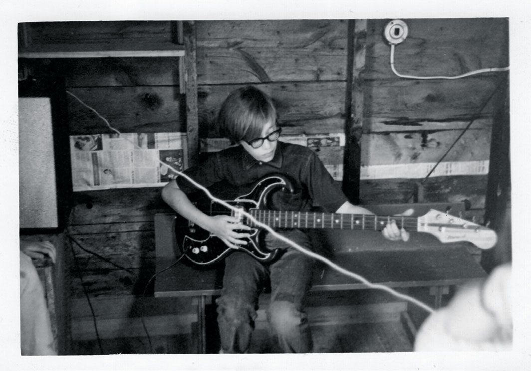 John Zorn, age nine, playing in a surf band, Camp Killooleet, Hancock, Vermont, 1963.