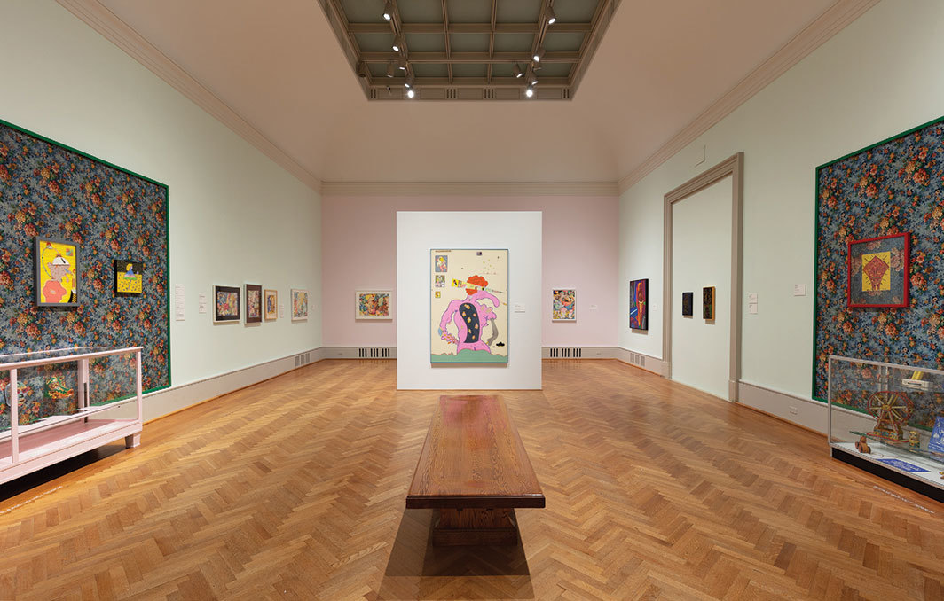 "View of ""Hairy Who? 1966–1969,"" 2018–19. Center: Jim Nutt, Miss E. Knows, 1967."