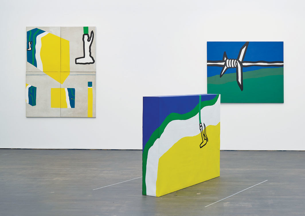 "View of ""Raoul De Keyser: oeuvre,"" 2018–19, SMAK, Ghent, Belgium. From left: Oefeningen met eerste linnen doos (Exercises with First Linen Box ), 1967; Linnen doos II (Linen Box II), 1966–67; Gampelaere-omgeving (Gampelaere Surroundings), 1967. Photo: Dirk Pauwels."