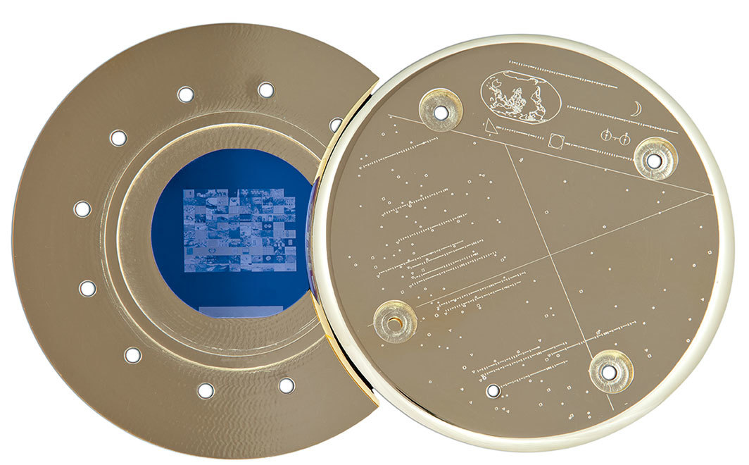 "Trevor Paglen, Gold Artifact, 2013, etched gold-plated disk, 4 7⁄8 × 4 7⁄8 × 3⁄8""."