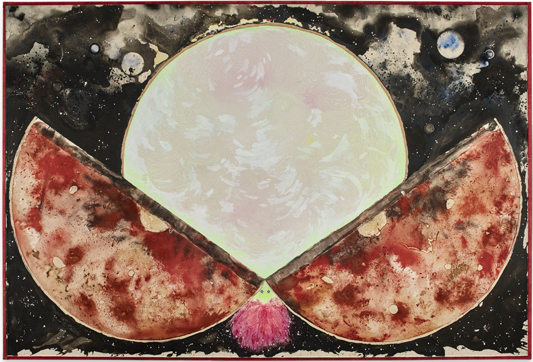 "Lucy Dodd, Miss Mars, 2018, squid ink, hematite, onion skins, liquid smoke, avocado, phosphorescent pigment, and acrylic on canvas, 10' 2"" × 15' 2""."