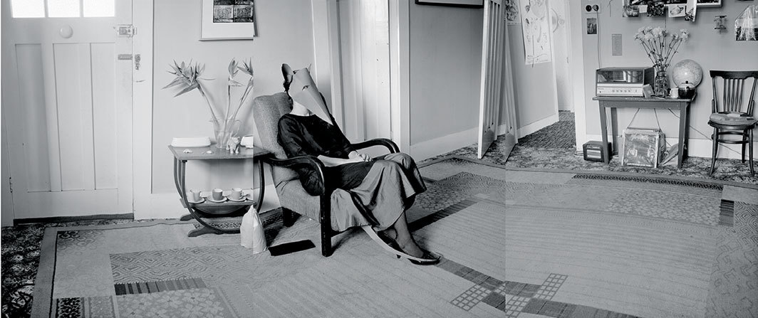 "Marie Shannon, The Rat in the Lounge, 1985, gelatin silver print, 18 1⁄8 × 33 7⁄8""."
