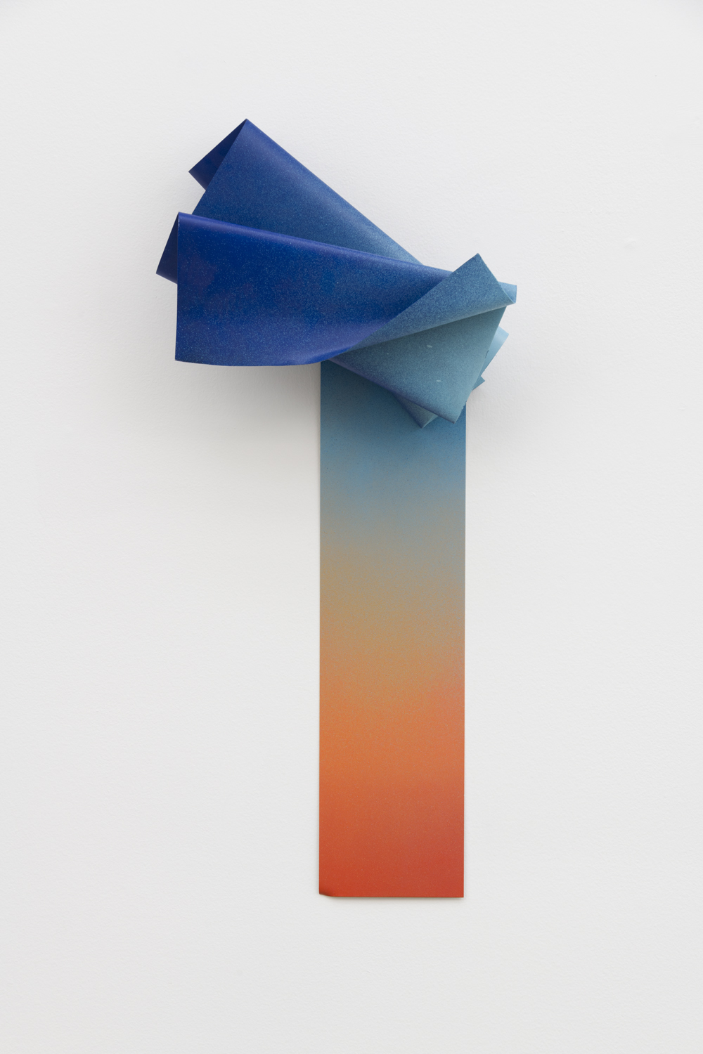 "Nora Shields, Threshold (Blue), 2018, acrylic and enamel on metal, 30 x 14 1/2 x 6""."