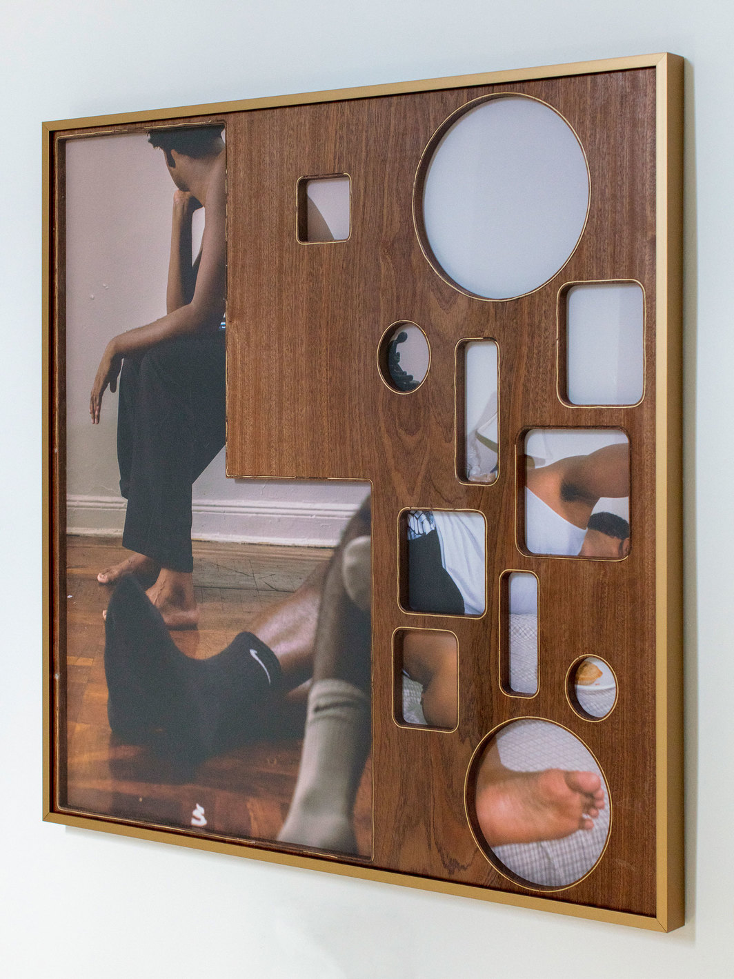 "Elliott Jerome Brown Jr., He gave and he gave / but he wouldn't have given at all if I didn't let him in / if I didn't cover my body in soap three times / swish oil between my teeth 47 minutes ahead of the time / that I expected him. / (Wounded), 2018, archival inkjet prints on aluminum, wood, and brass wire, 31 x 31""."