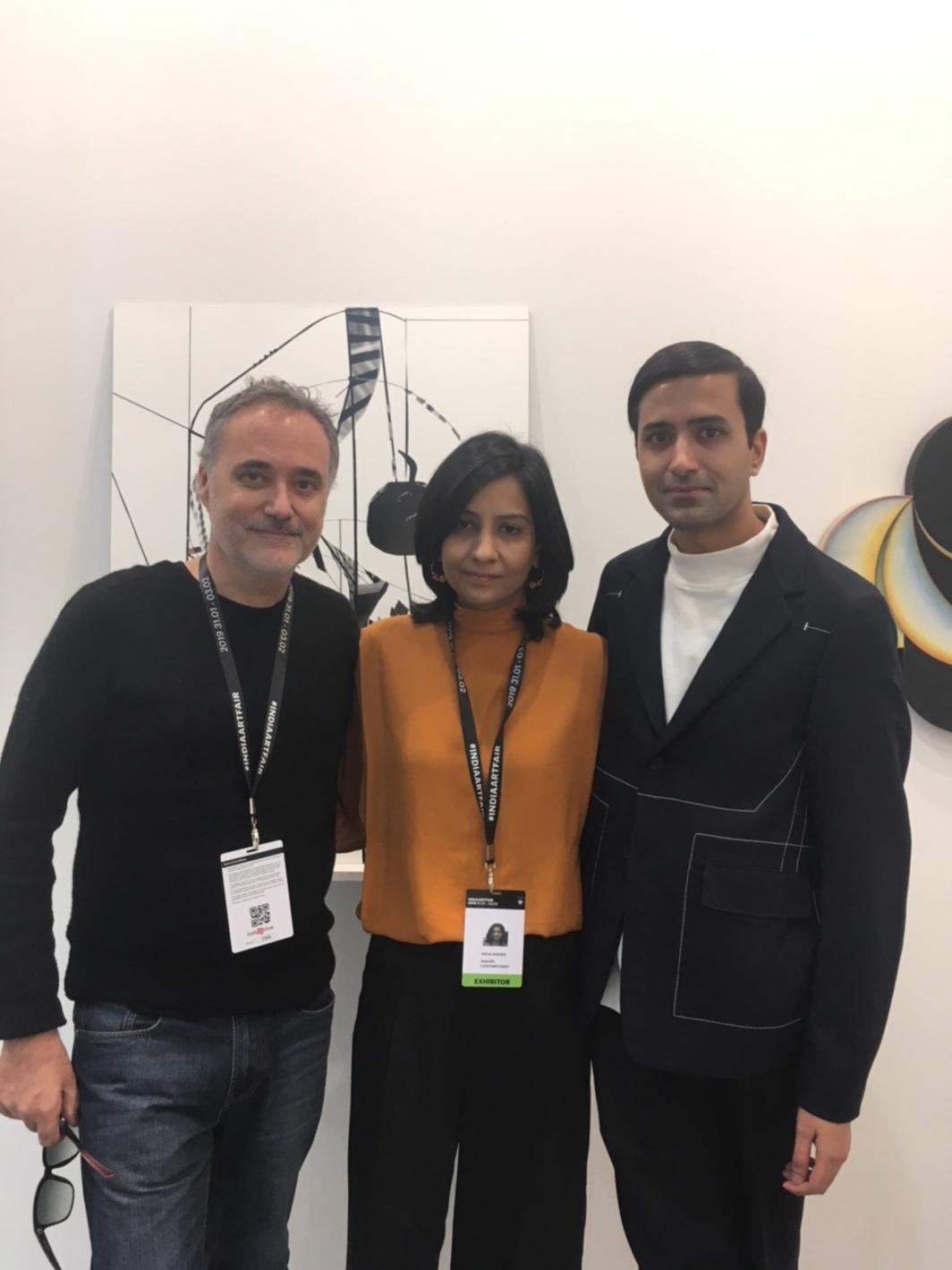 Artist Mark Prime with dealer Priya Jhaveri and curator Shanay Jhaveri.