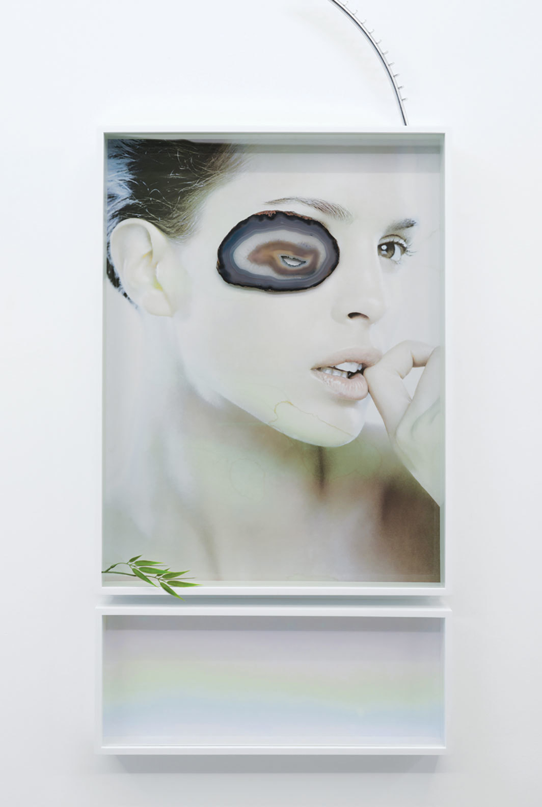 Gabriele Beveridge, Practical Exercises (II), 2015, sun-faded poster, artist's frames, shop fitting, fake bamboo, agate slice, iridescent glass, 55 1⁄8 × 24 × 3 1⁄8""
