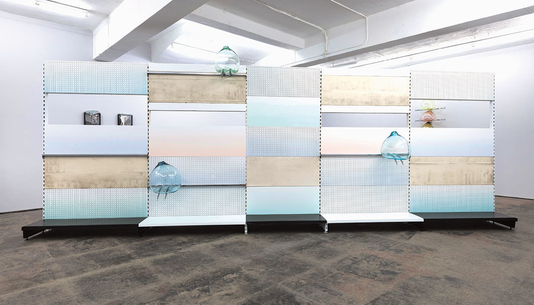 Gabriele Beveridge, Vanillic Acid Damping, 2018, found steel shop panels, powder-coated steel pegboards, handblown glass, chromed-steel shop fittings. Installation view, Seventeen Gallery, London.