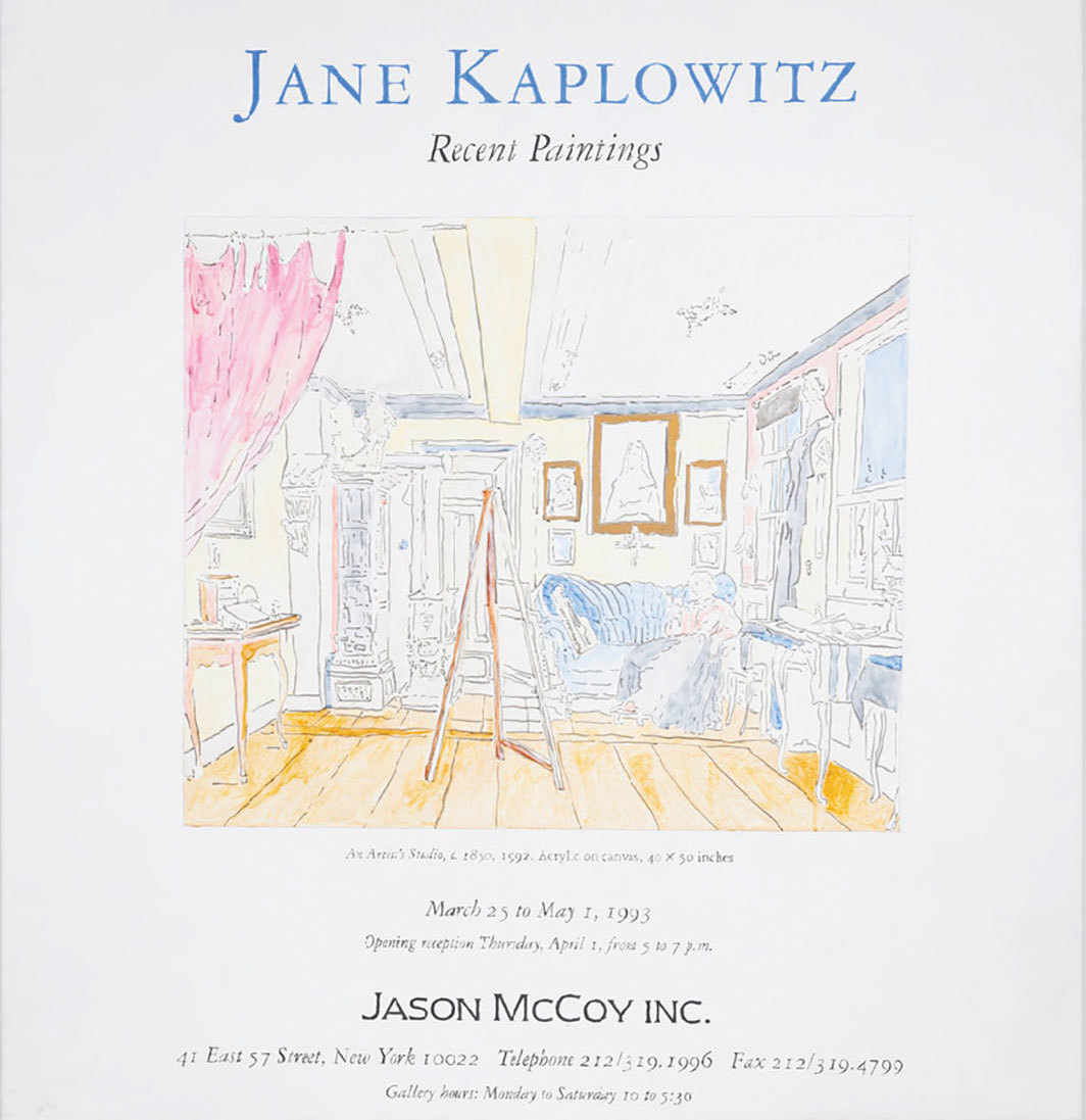 "Jane Kaplowitz, Announcement Card, An Artist's Studio, 1993, acrylic on canvas, 48 × 48""."