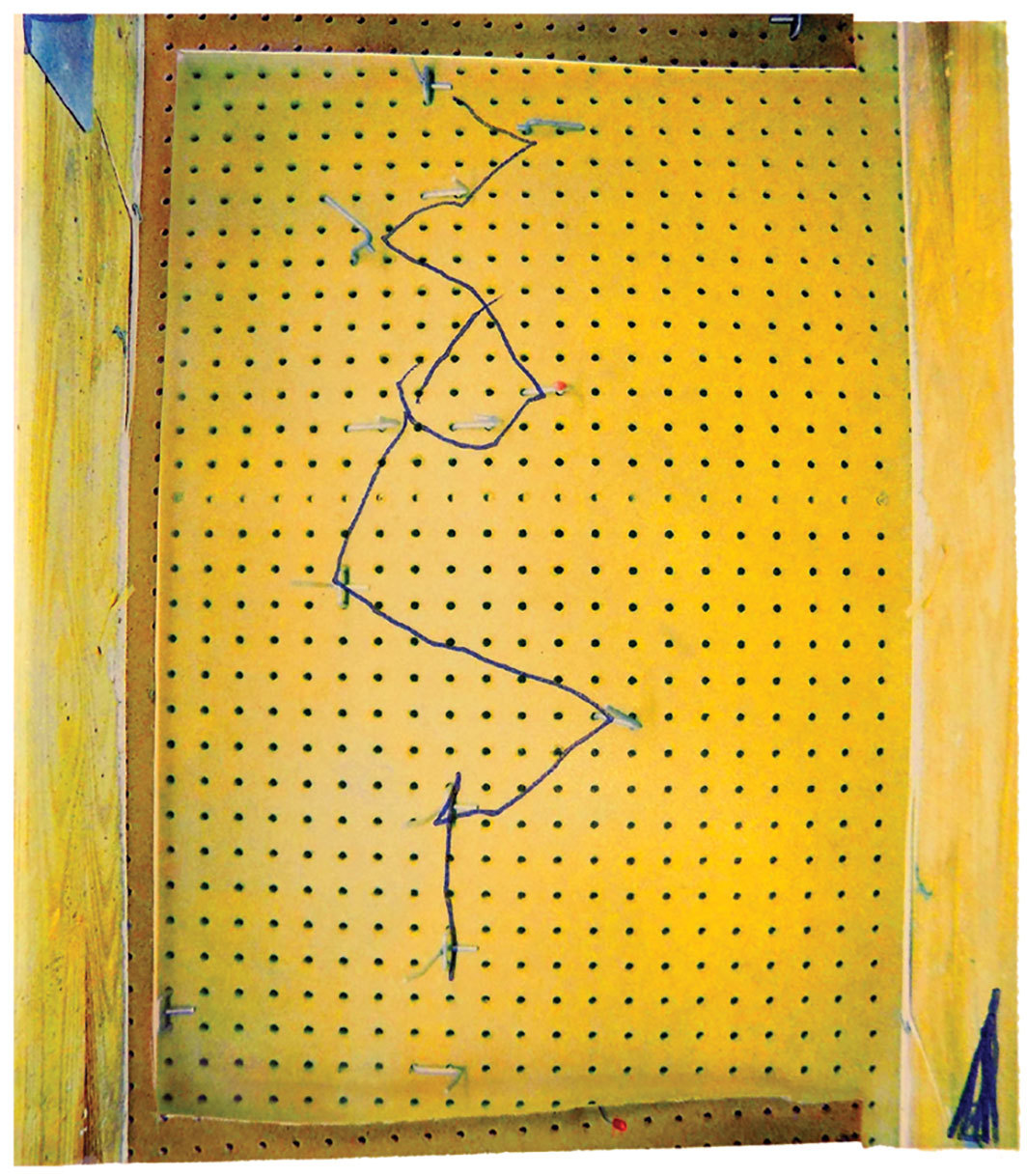"Gerald Slota, Untitled (Pegboard), 2018, digital C-print, 44 × 37 1⁄2""."