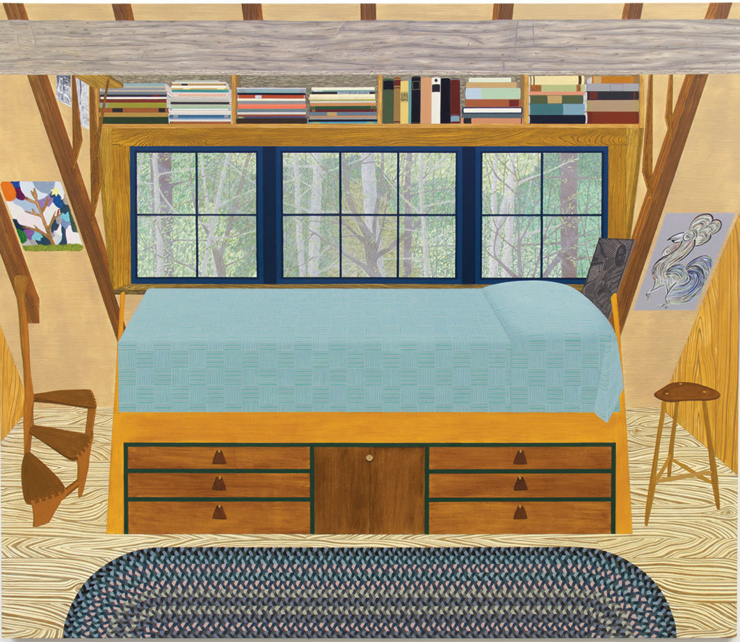 "Becky Suss, Bedroom (Wharton Esherick), 2018, oil on canvas, 72 × 84""."