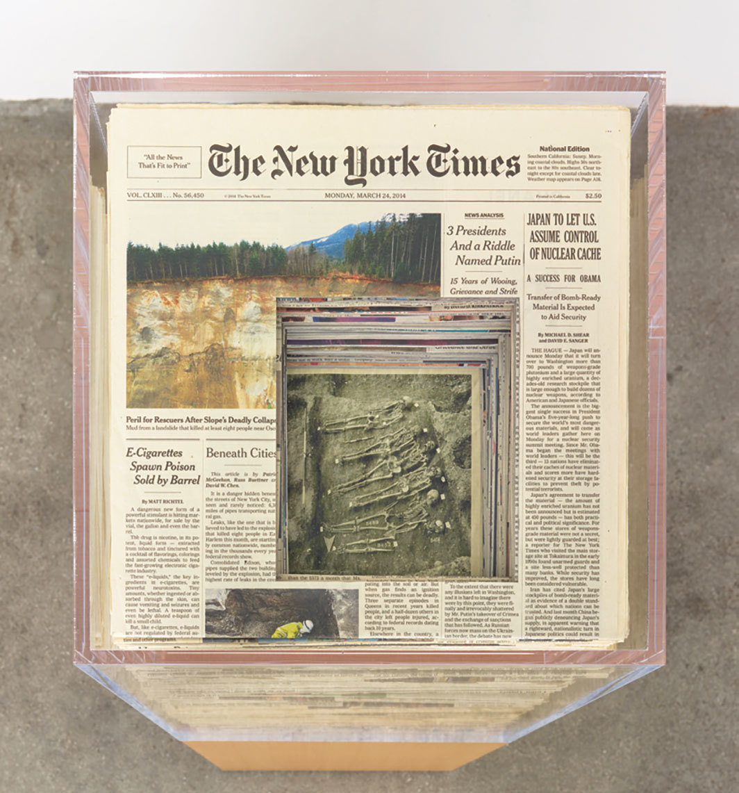 "Jennifer Bolande, Image Tomb (with skeletons), 2014, newspapers, Plexiglas, wood, 43 × 13 × 13""."