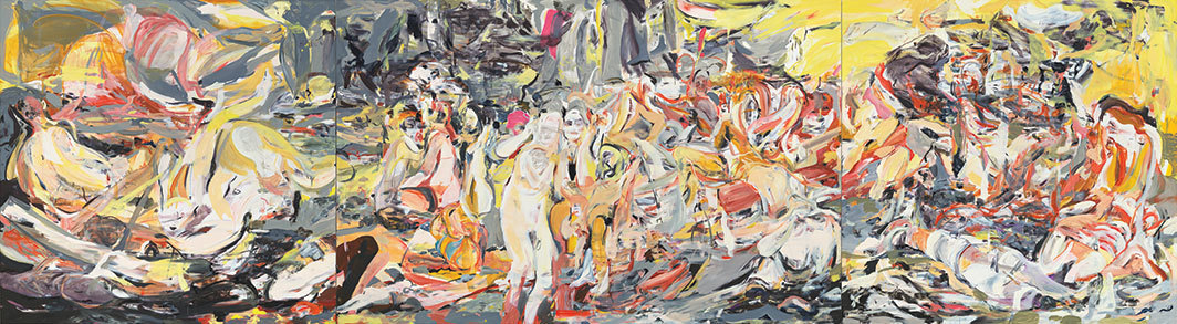 "Cecily Brown, Where, When, How Often and with Whom?, 2017, triptych, oil on linen, overall 7' 5 3⁄8"" × 33' 7⁄8""."