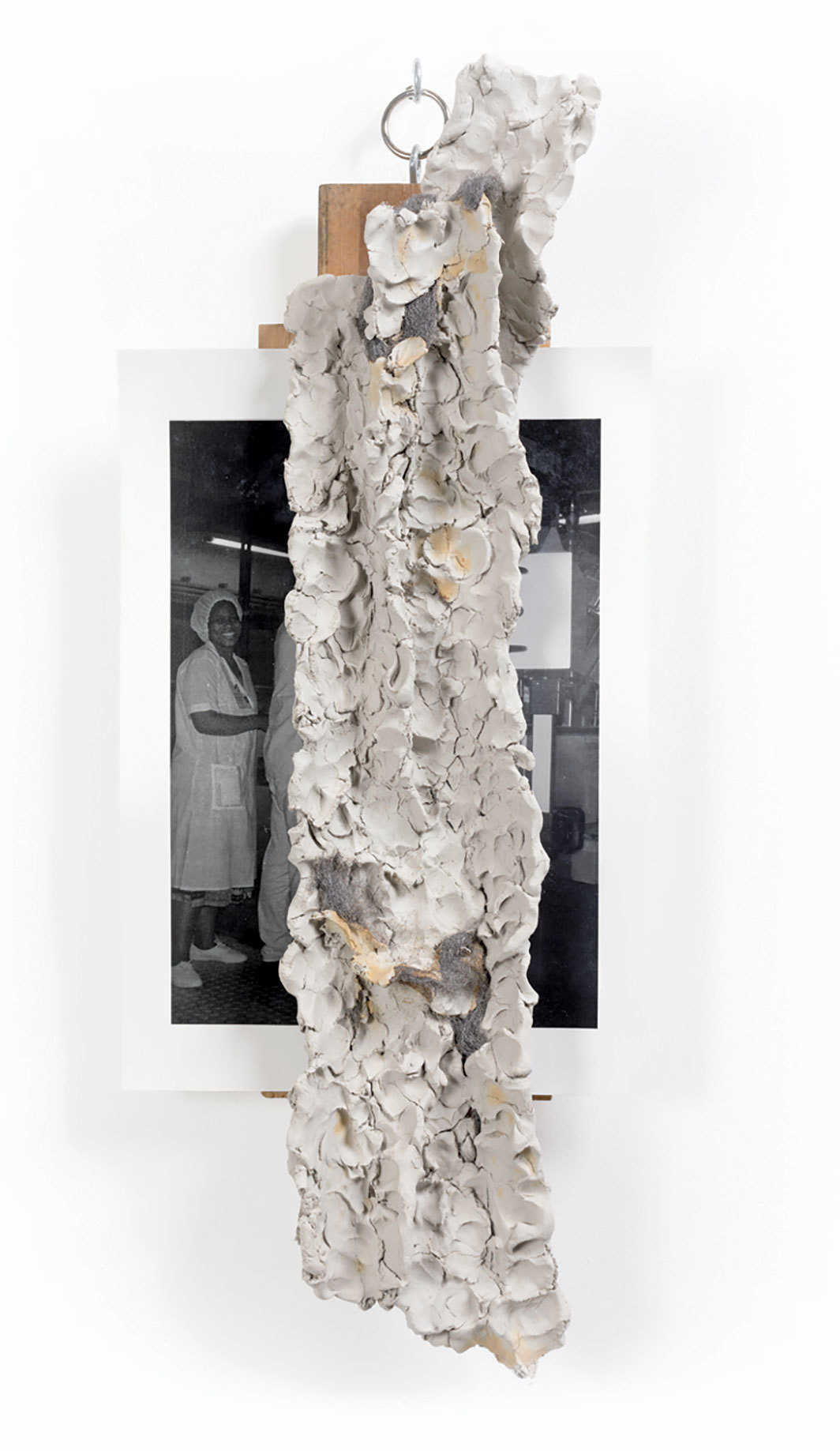"Oscar Murillo, Catalyst, 2015, clay, C-print, wood, 31 1⁄2 × 12 5⁄8 × 5 1⁄2""."