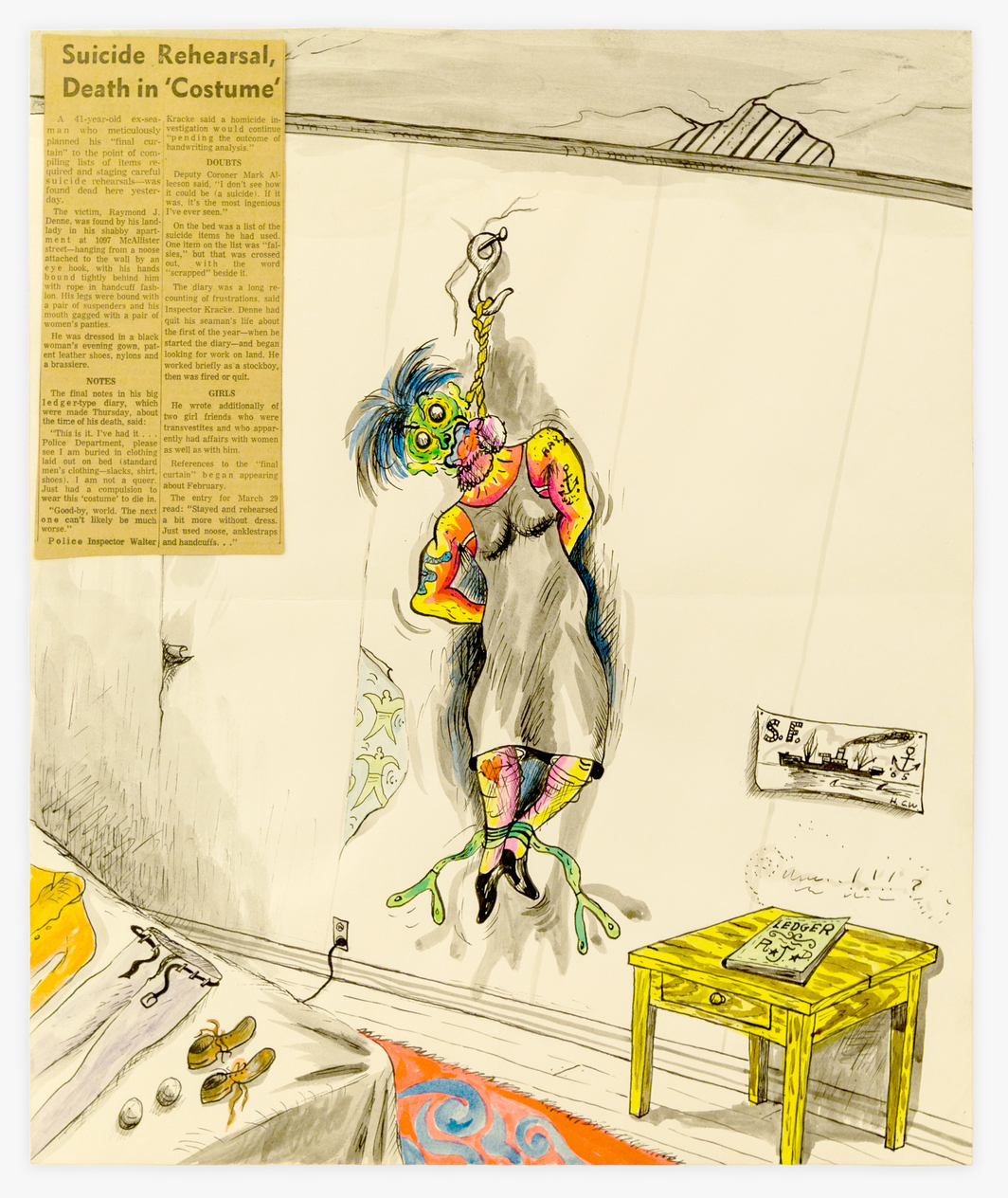 "H.C. Westermann, Suicide Rehearsal, 1965, ink, watercolor, paper, newsprint, 17 x 14""."