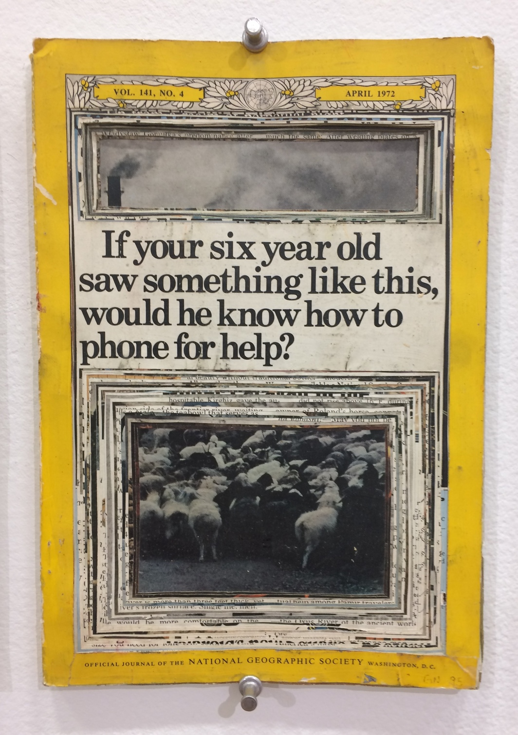 "Garry Noland, If your six year old saw something like this, would he know how to phone for help? (detail), 1995–, April 1972 National Geographic magazines, decollage, photomontage, this component 10 x 7 x 1/2""."