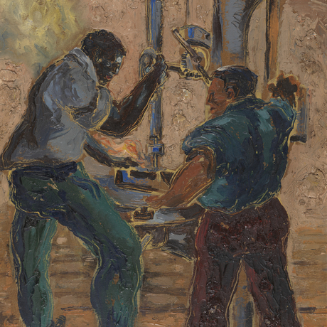 Claude Clark, Men and Drill Press, 1999.