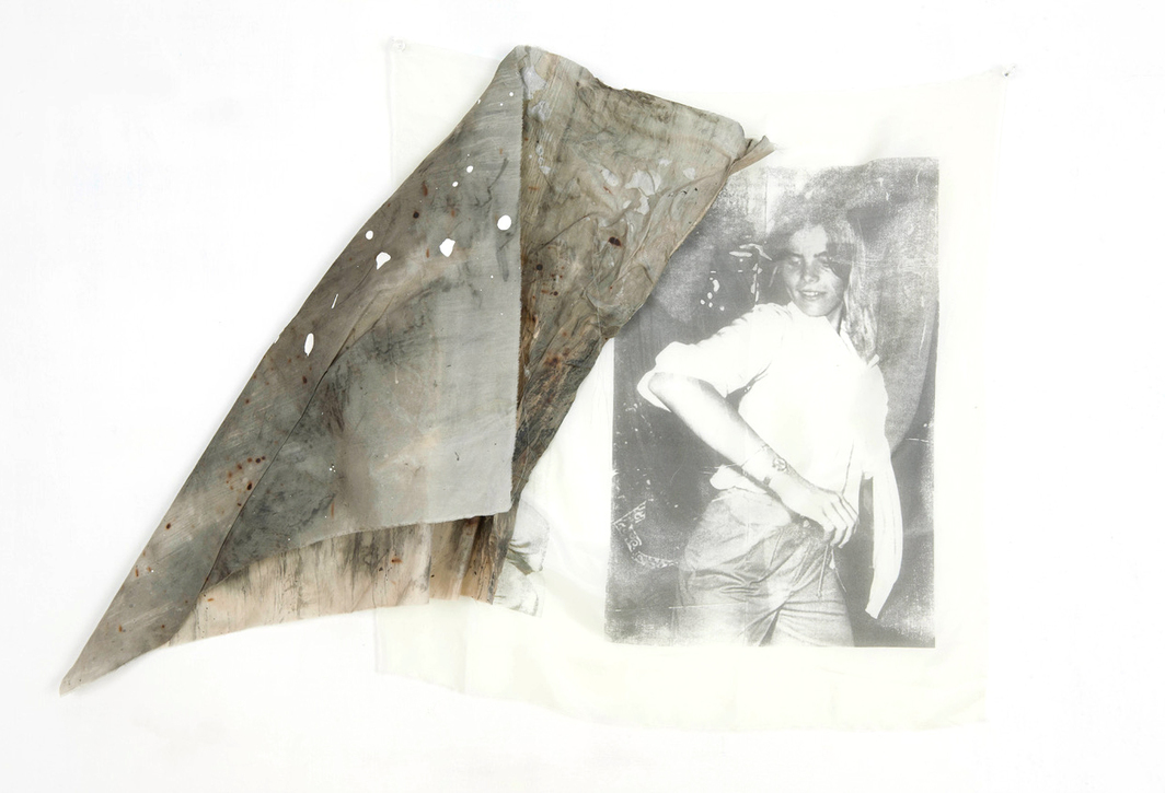 "Servane Mary, Untitled (Mariel Hemingway dancing, burned piece), 2011, solvent transfer and mixed media on silk, 22 x 31""."