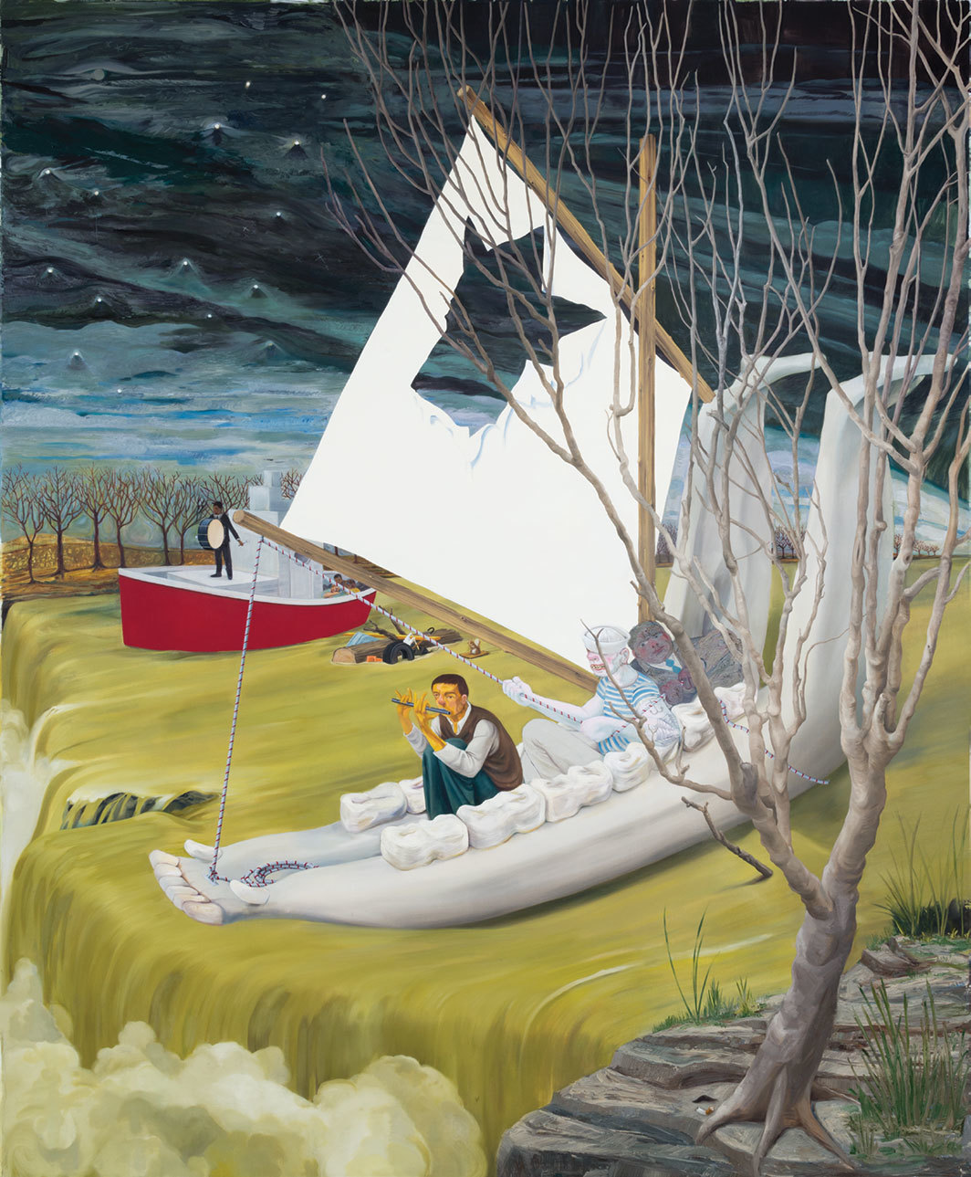 "Nicole Eisenman, Heading Down River on the USS J-Bone of an Ass, 2017, oil on canvas, 10' 7 1⁄4"" × 8' 9""."
