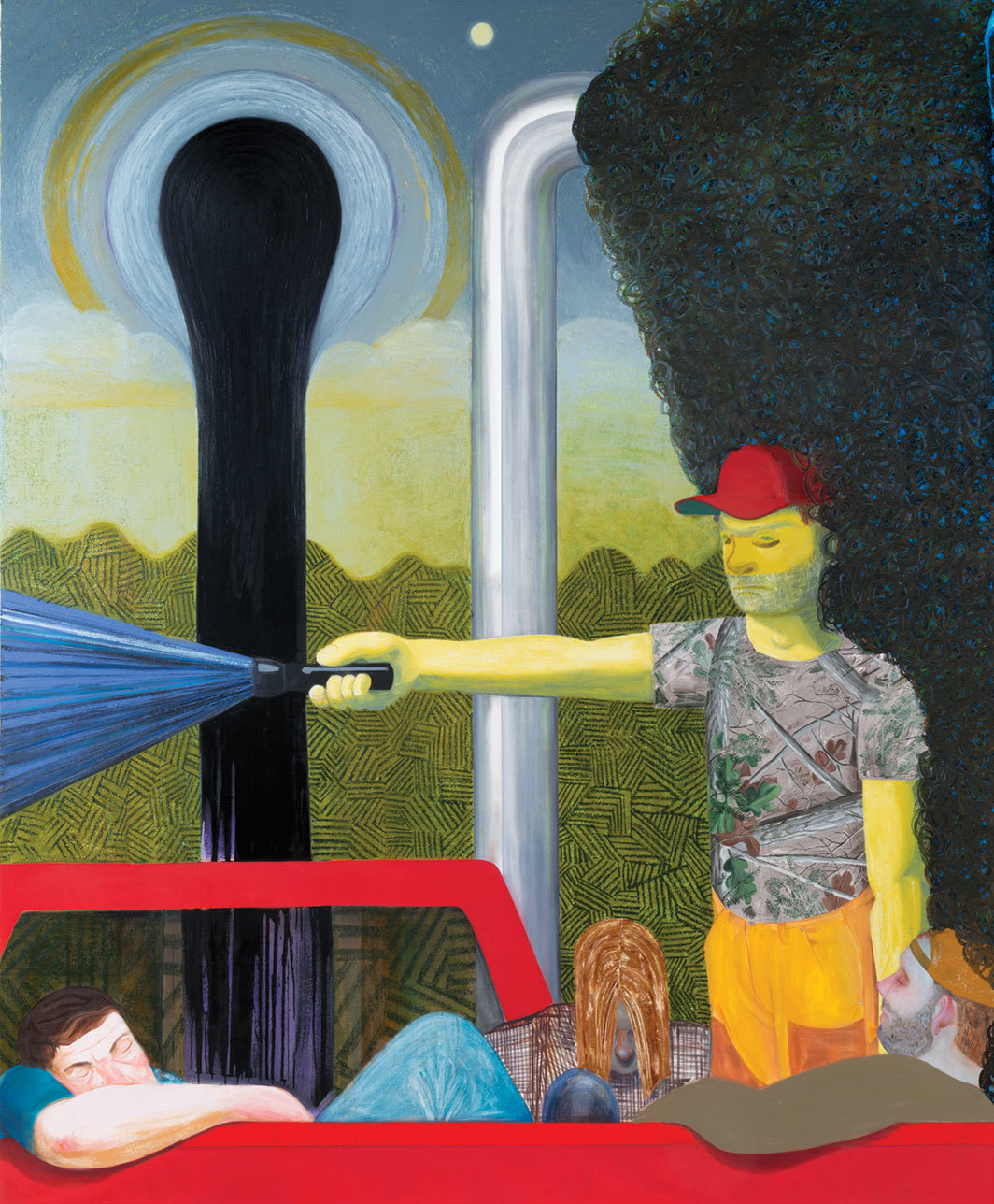 "Nicole Eisenman, Dark Light, 2017, oil on canvas, 10' 7 1⁄4"" × 8' 9""."