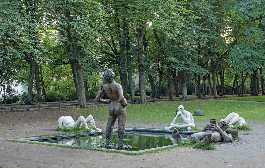 Nicole Eisenman, Sketch for a Fountain, 2017, plaster, bronze. Installation view, Münster, Germany. Photo: Henning Rogge.