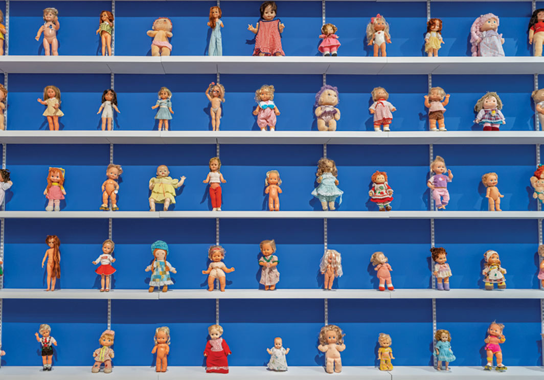 "Toy collection in process for Trenton Doyle Hancock's ""Mind of the Mound: Critical Mass,"" MASS MoCA, North Adams, MA, 2019. Photo: Kaelan Burkett."