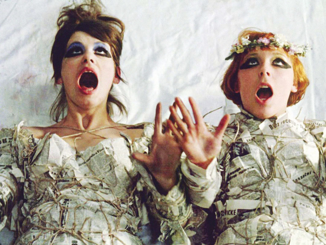 Still from Věra Chytilová's Sedmikrásky (Daisies), 1966, 35 mm, color and black-and-white, sound, 76 minutes. Ivana Karbanová (Marie II) and Jitka Cerhová (Marie I).