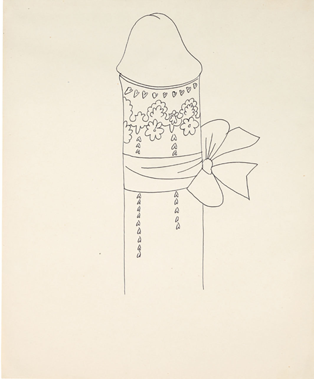 "Andy Warhol, Male Genitals, ca. 1950s, ballpoint pen on paper,  17 × 14""."