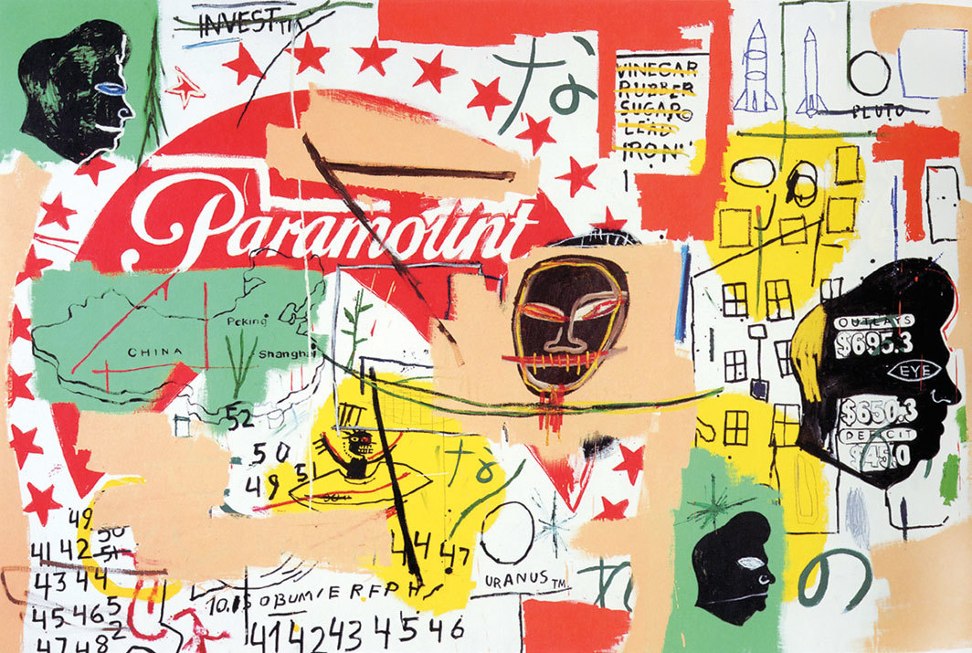 "Jean-Michel Basquiat and Andy Warhol, Paramount, 1984–85, acrylic on canvas, 76 × 105""."