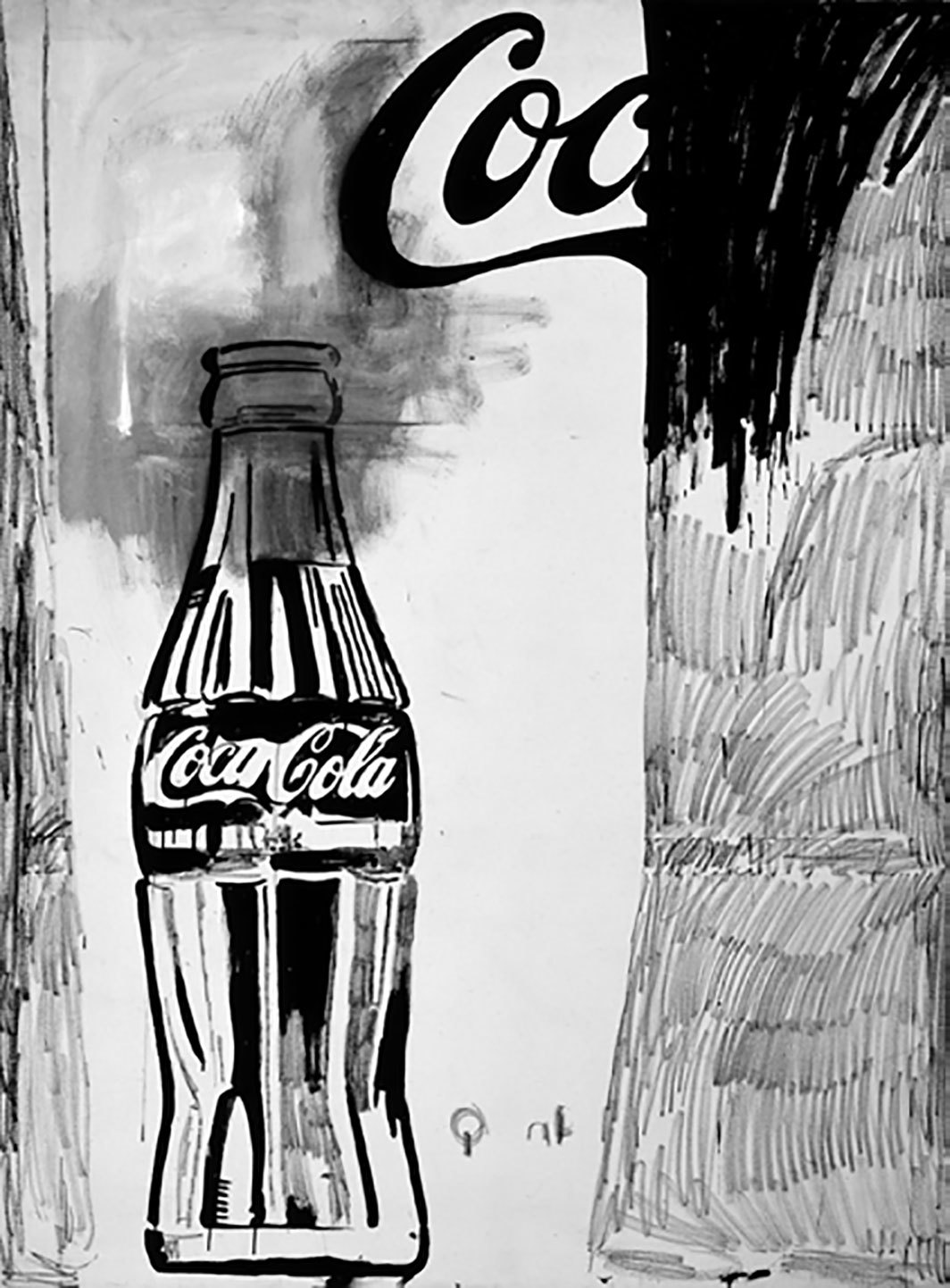 "Andy Warhol, Coca-Cola [2], 1961, casein and wax crayon on linen, 69 1/2 × 52 1⁄4""."