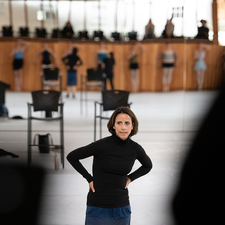 Jacob's Pillow Dance Award winner Annabelle Lopez Ochoa in rehearsal at The School at Jacob's Pillow in Becket, Massachusetts. Photo: Christopher Duggan.