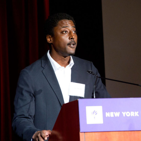 Leronn P. Brooks speaking at New York University.