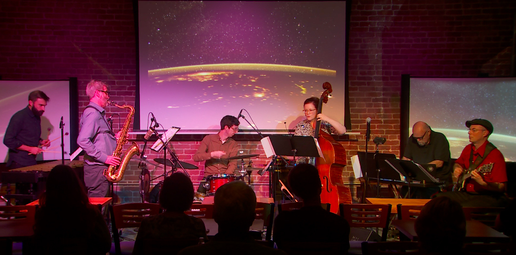 The Lisa Mezzacappa Six, The Jazz Conservatory, November 2, 2018. Video still: Kirk Schroeder.