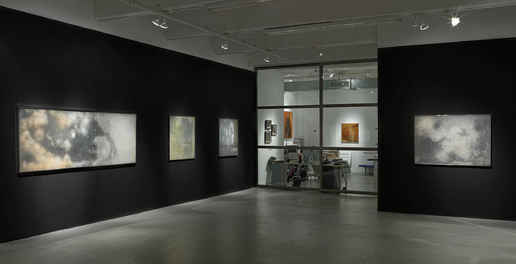 "View of ""Helène Aylon,"" 2019. From left: Drifting Pink, 1970; Whirling White, 1971; Brazen White, 1972; Laden White, 1970. Photo: Jeffrey Sturges."