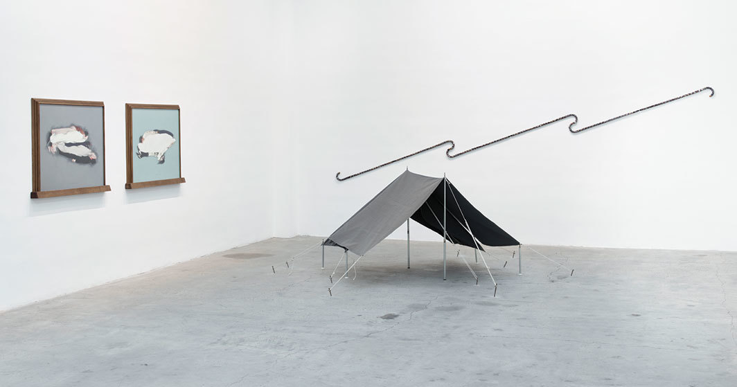 "View of ""Ger van Elk,"" 2019. On wall, from left: Sandwich Study 'Tombe' (C de X), 1994; Cloudy Conscience (C de X), 1994; Los Angeles Freeway Flyer, 1973–2003. On floor: Camping Art II, 1968. Photo: Max Yawney."
