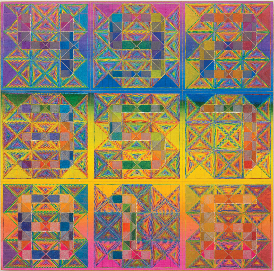 "Xylor Jane, Magic Square for Finding Lost People, 2014, oil on panel, 24 × 24""."