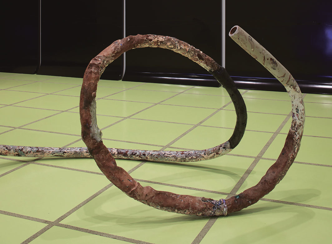 "Rosha Yaghmai, Hair (detail), 2019, pipe, Hydrocal, epoxy resin, limestone, Miracle-Gro, mud mask, graphite, rust, glass, earth pigments, found materials, 2' 10"" × 17' × 3' 9"". Photo: Johanna Arnold."