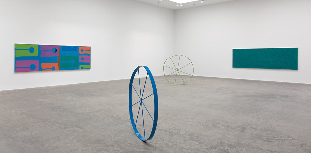 "View of ""Gary Hume,"" 2019. From left: The Beach, 2018; The Wonky Wheel (Blue), 2018; The Wonky Wheel (Lime Green), 2018; Water, 2018."