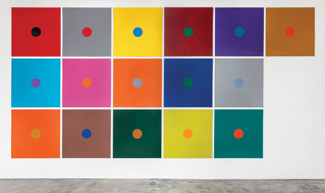 "Poul Gernes, Untitled, 1966, enamel on sixteen Masonite panels, each 48 × 48""."
