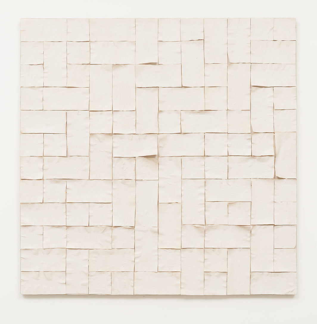 "Paulo Roberto Leal, Armadura (Armature), 1978, canvas on canvas, 46 5⁄8 × 46 5⁄8""."
