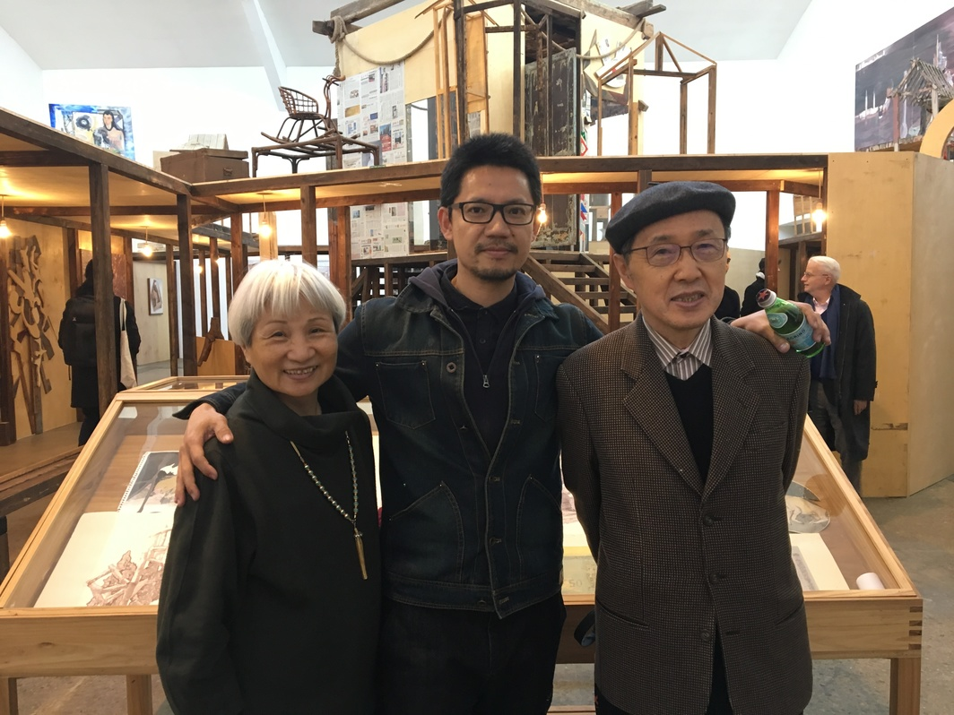 Artist Chen Yujun and Taiwanese collectors Stephen Wu and Cynthia Chen.